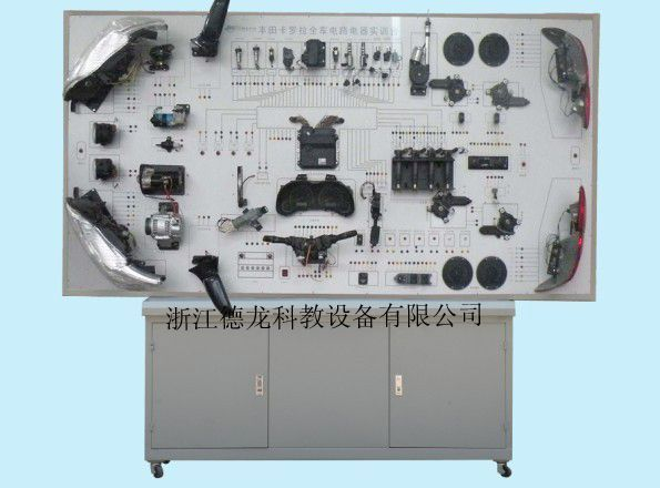 l 技术型号:DLD8100-KLL l 使用环境:温度-5~40;湿度80% l 汽车型号:卡罗拉 l 工作电压:220V l 频率:50/60HZ; l 功率:350W l 实验台尺寸:2500MM500MM1800MM(长宽厚) 产品简介: l 万向自锁脚轮台架活动灵活,便于移动教学;整体台架采用刚性结构焊接,所用材料方管、冷轧板采用国标标准材料,支撑可靠,表面喷塑处理防腐蚀抗老化,不褪色 l 控制面板采用纯铝塑板,控制面板上原车实物线路或绘彩色与原车控制系统相一致的直观电控系统原理图